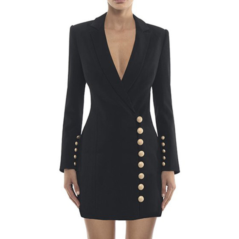PEONFLY Formal Blazer Women Black Sexy Deep V Neck Gold Single Breasted Jacket Long Sleeve High
