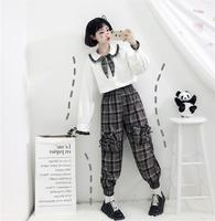2019 New Design Japanese Women Set Bow Tie Long Sleeve Shirt And Plaid Bow High Waist Pants Spring Sweet Student Set Suit