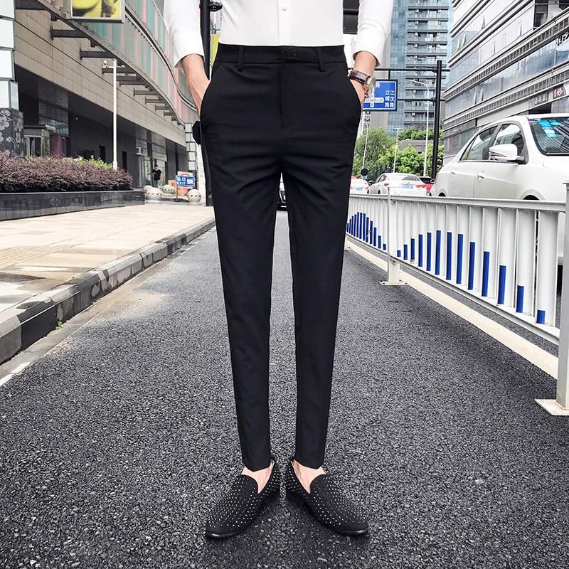Business Casual Pants Men Korean Slim Trousers Office Trousers Men 2019 Summer Black Grey Young Men Dress Suit Pants