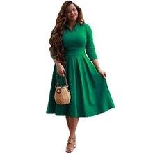 Для женщин Сплошной воротник с лацканами Высокая талия плиссированные качели Бальное Платье приталенное Mid Длина платья