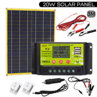 20W Solar Panel USB Charger 12V/5V For Phone Lighting Boat +12/24V Solar Controller +Car Charger 2x Alligator Clip and Cable ect