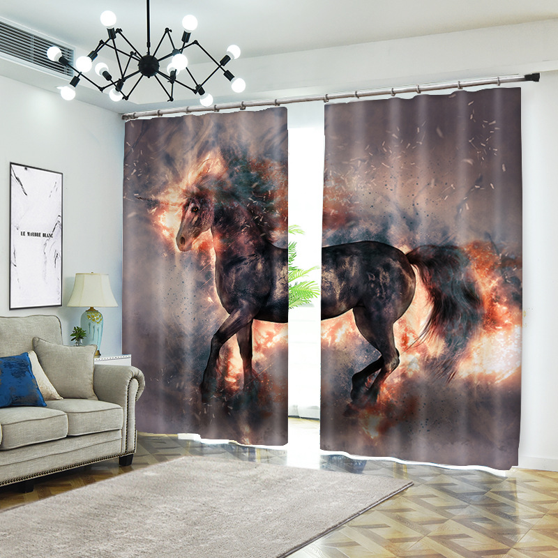 Cheval 1 set impression numérique rideaux occultants pour traitement de fenêtre stores rideaux finis rideaux de fenêtre salon chambre CU247