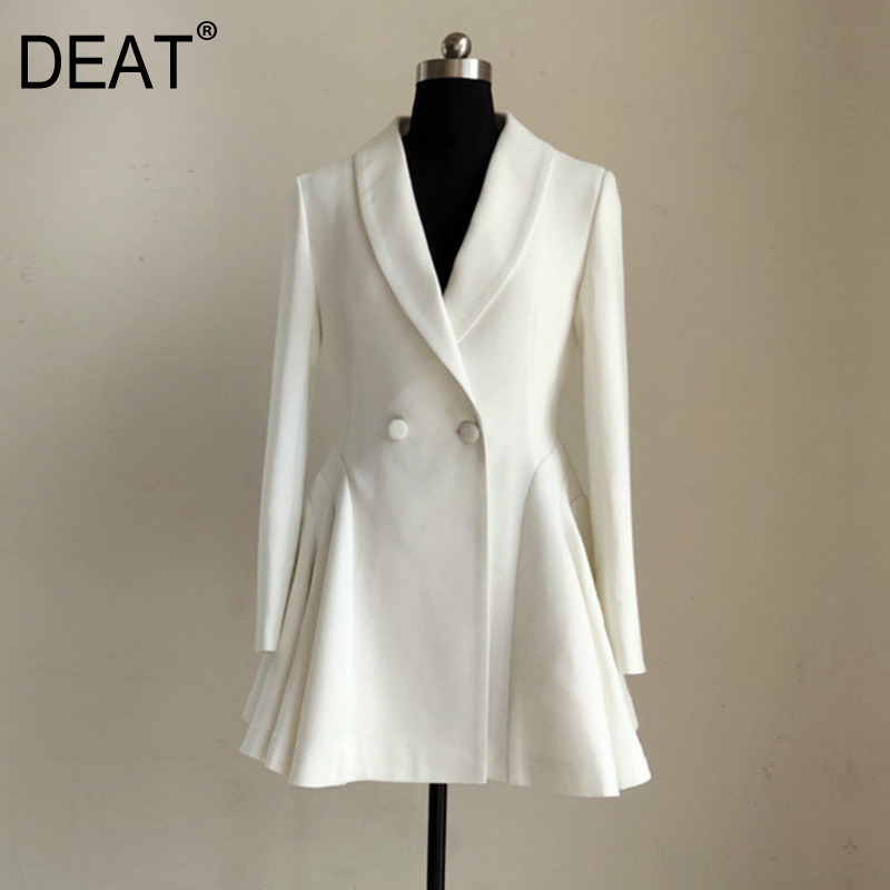 DEAT 2020 New Summer Styles Fashion Women Clothes Thin notched Collar Full Sleeves High Waist Double Button Jacket Dress WG027