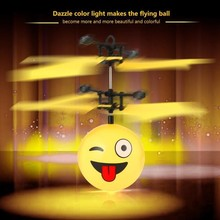 Antistress Emotion Magic Flying Ball Infrared Induction Flash Disco Smile LED Lamp Helicopter KID Toy RC Drone