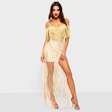 Sexy Straps Long Dresses Women Summer Sequins Tassel Boho Mesh Transparent  Elegant Evening Backless Split Party 293bae5ed790