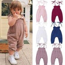 Детская летняя одежда 0-24 M Малыш девочка комбинезон одежда без рукавов ремень брюки женский комбинезон хлопок наряды Комбинезоны