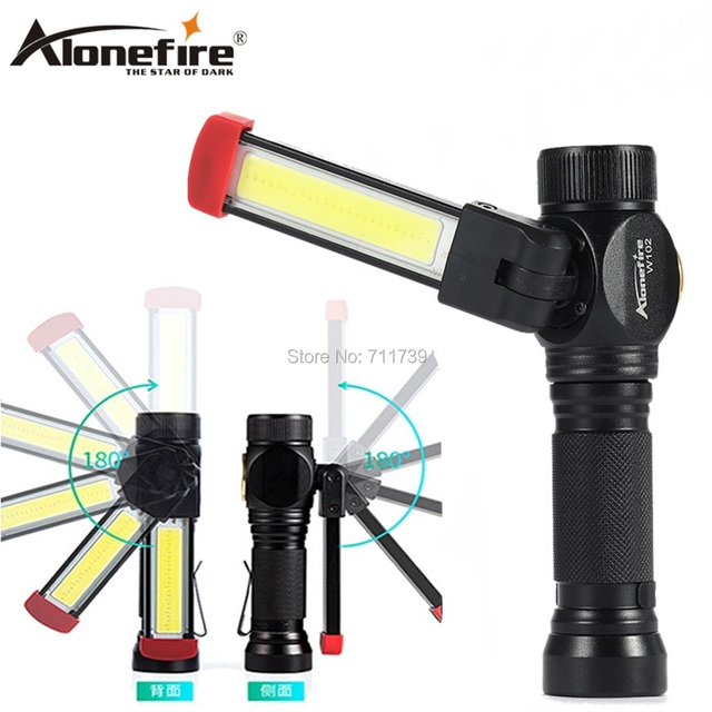 AloneFire W102 COB Work Light Portable LED Light Home Outdoor Foldable Rechargeable Work Light Magnet Flashlight torch lamp