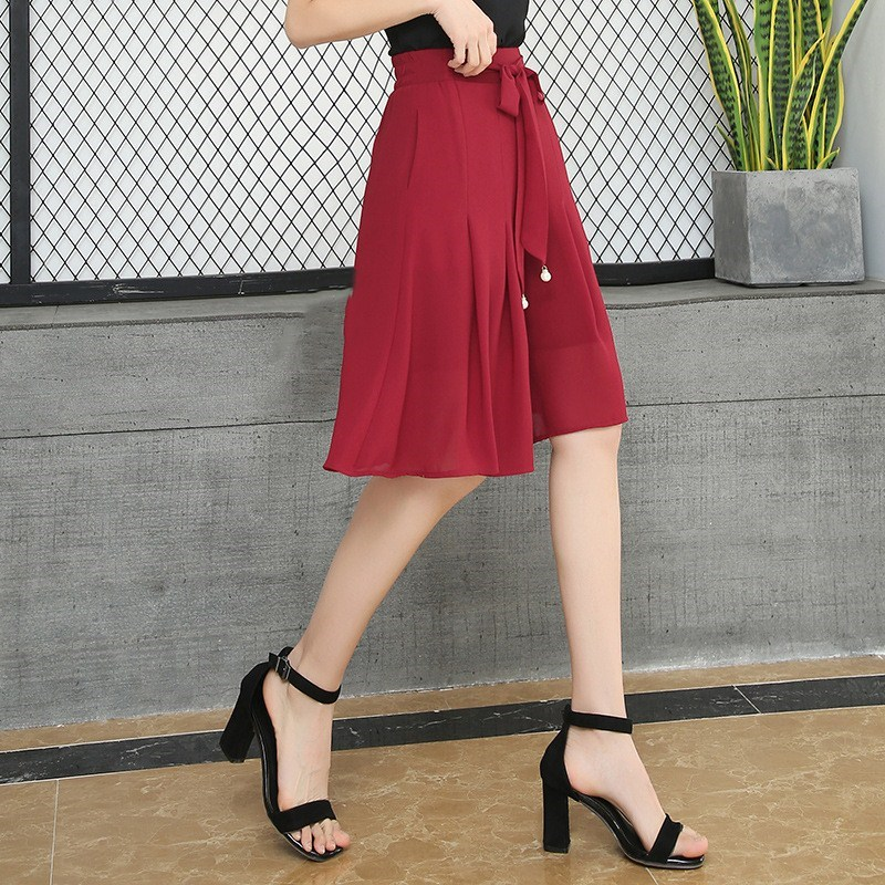 New Arrival Summer Chiffon Solid   Wide     Leg     Pants   Female Lace-Up Beads Loose Knee Length Thin   Pants