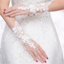 1 пара перчаток цветок Мода невесты выдалбливают кружева росы палец повязки перчатки свадебное платье аксессуары украшения