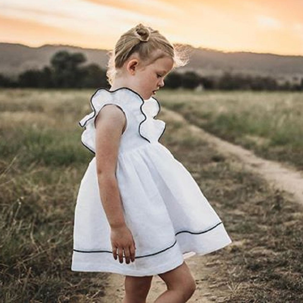 2019 Fashion Baby Girl Dress Summer Ruffles Short Sleeve Casual Dress Beach  White Sundress Children Girl Clothing 1 7 Years-in Dresses from Mother    Kids on ... e94f8fe0a5b6