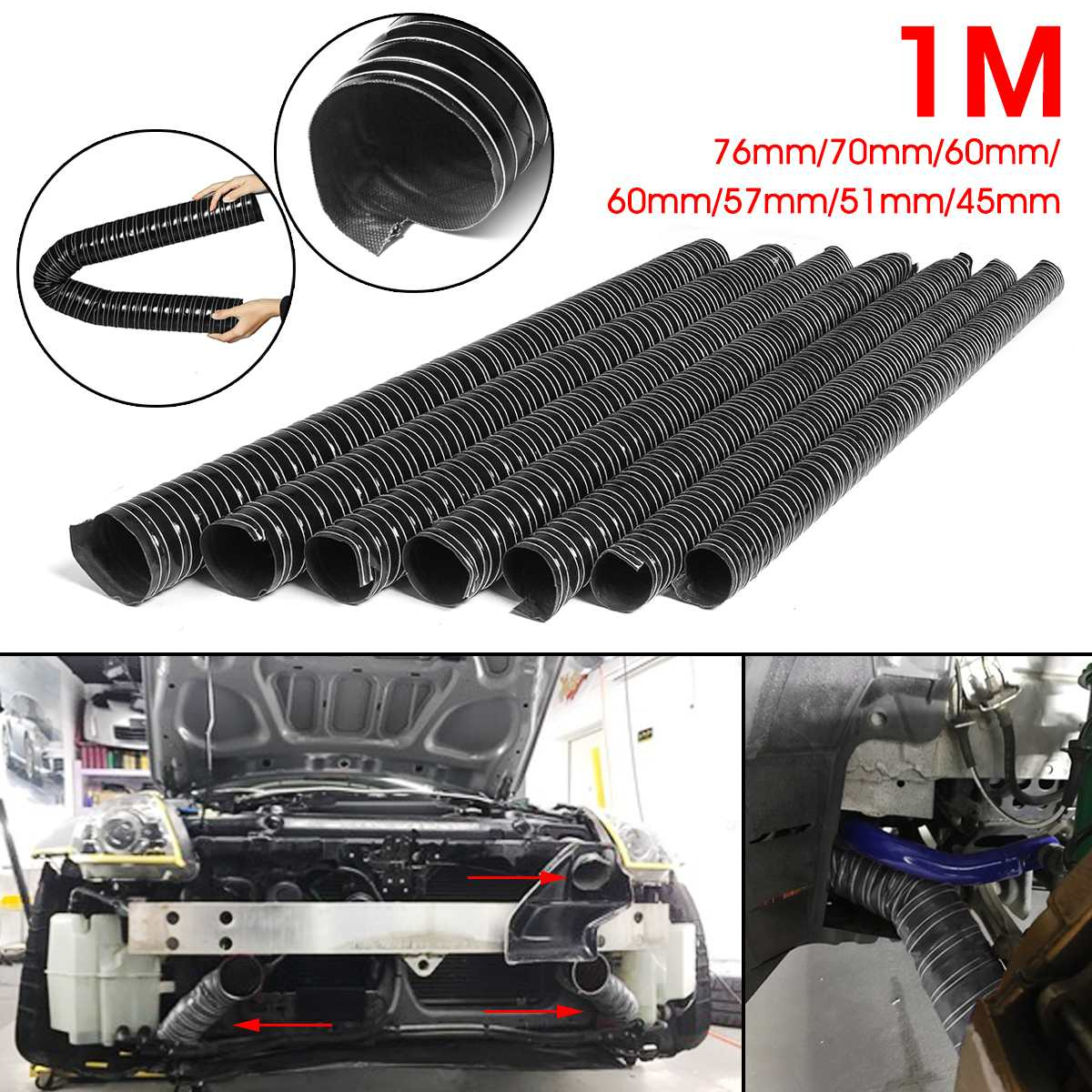 Car Hood Air Intake Pipe 1m Air Ducting Hose Tube 76/70/63/60/57/51/45mm Flexible Filter Pipe Universal