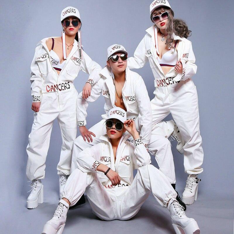 #0113 Weiß Hip Hop Hosen Männer Frauen Dance High Street Overall Männer Overalls Multi-tasche Overall Mit Zipper Brief Drucken HöChste Bequemlichkeit