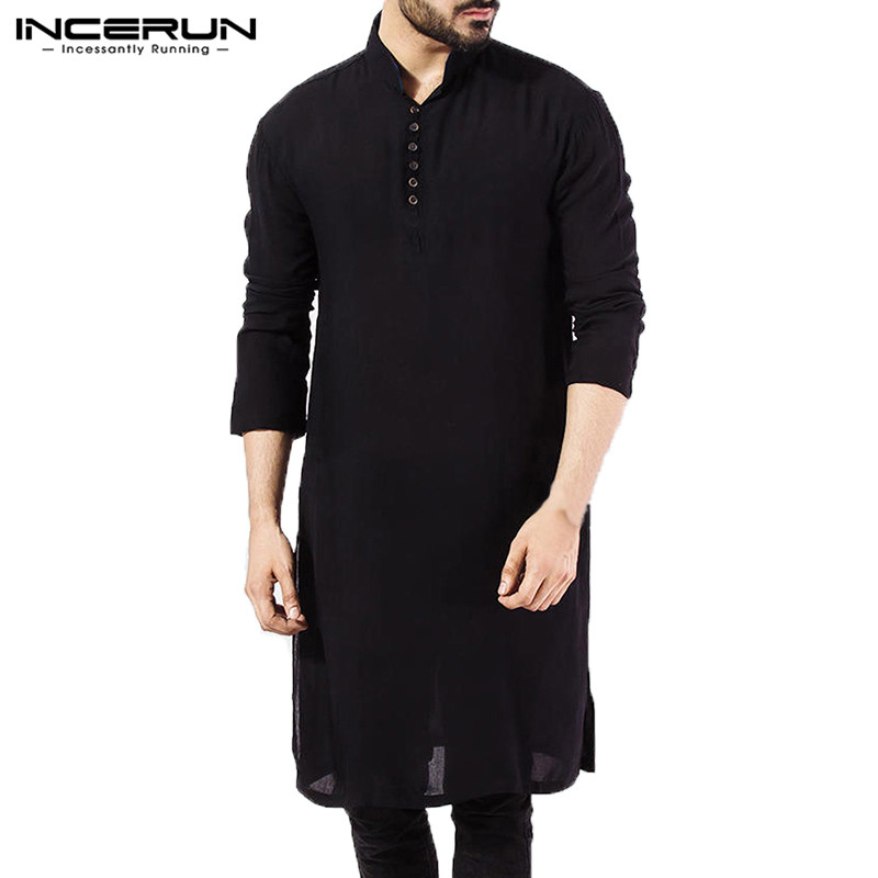4a2902b99221 Men Kurta Shirt Long Sleeve Mandarin Collar Kurta Dress Islamic Chemise  Elegant Kaftan Robe Pakistani Man