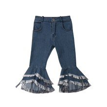 Cool Fashion Girls Jeans Long Pants Toddler Denim Solid Ruffle Flare Pants Trousers Slacks Casual(China)