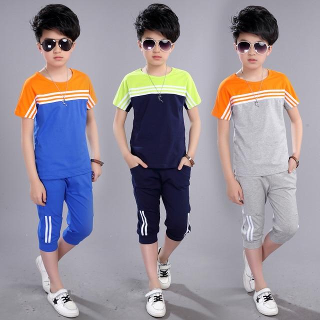48e28859290c Boys  Summer Suit New Children Short Sleeved T Shirt +pant Summer Boy Kids  Sport Sets Spell Color 4-12 Ages