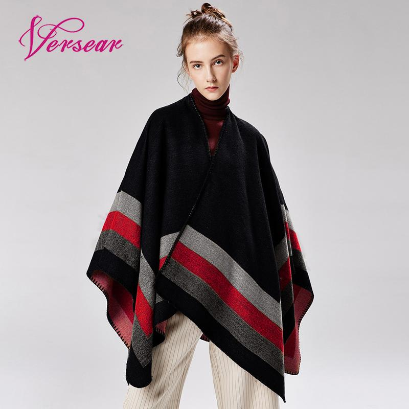 Versear Women Winter Knitted Cashmere Poncho Capes Shawl Cardigans Warm Capes Striped Shawl Scarf Ladies Knit Shawl Cape Vintage