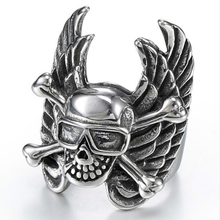jingyang New Fashion Stainless Steel Black With Skull Wing Biker Simple Ring Accessories Jewellery Gifts For Men
