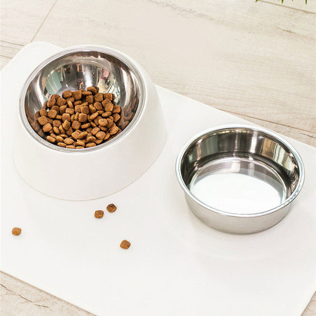 Xiaomi Stainless Steel Pet Dog Bowl Puppy Cats Food Drink Water Tilted Feeder With Base Pets Supplies Non-slip Feeding Dishes 2