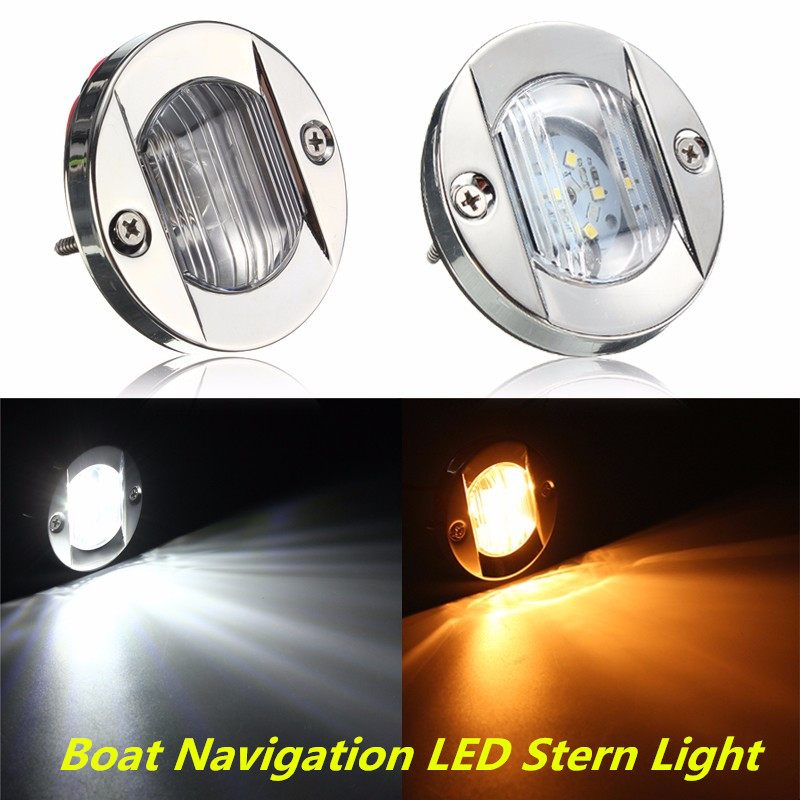 DC 12V Marine Boat Transom LED Stern Light Round Stainless Steel Cold White LED Tail Lamp Yacht Accessories Warm White/White