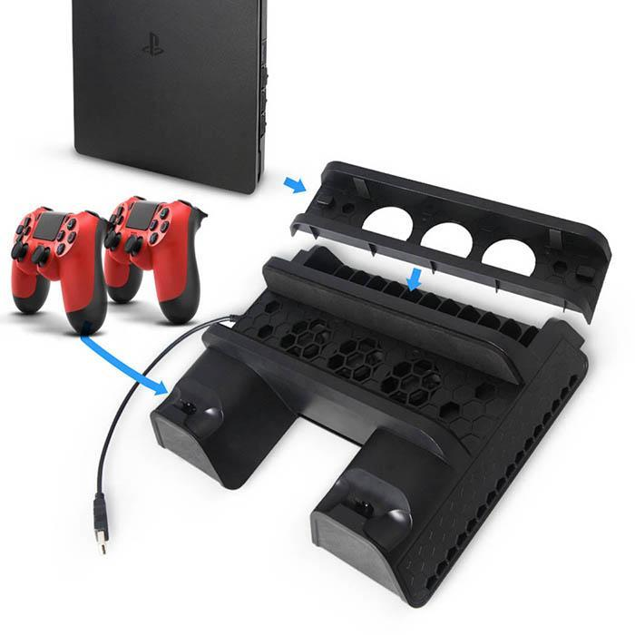 PS4 Accessories Slim Pro Vertical Console Cooling Fan Controller Charger Game Disk Storage Stand Tower