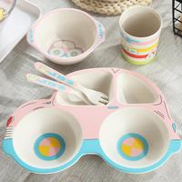 Children's Tableware (Five Piece Set) Car Bamboo Fiber Cartoon Compartmental Plate Cute Children's Rice Bowl Spoon Fork Cup