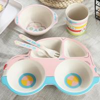 Children's Tableware (Five Piece Set) Car Bamboo Fiber Cartoon Compartmental Plate Cute Children's Rice Bowl Spoon Fork Cup