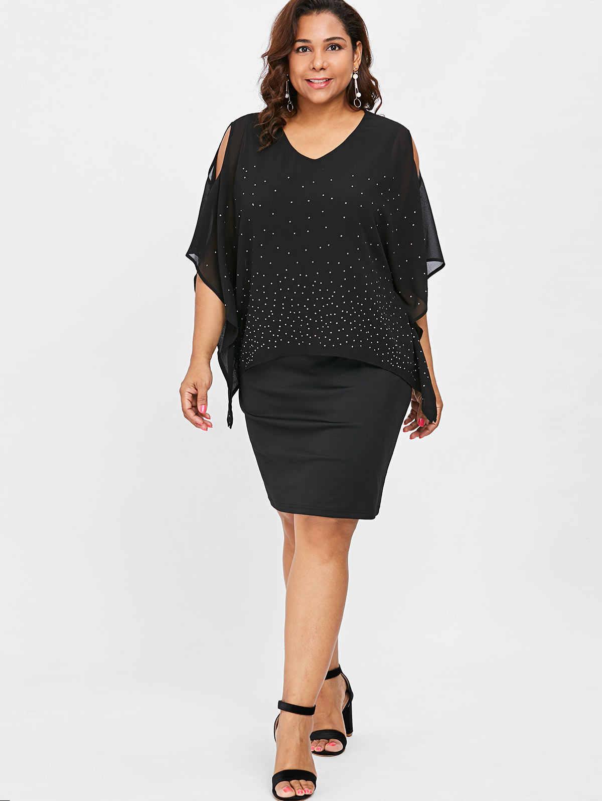 3b07596008 Wipalo Plus Size Cold Shoulder Cape Dress Office Ladies 5XL Polka Dot  Chiffon Party Dresses XXXXL XXXL XXL Women Work Big Size