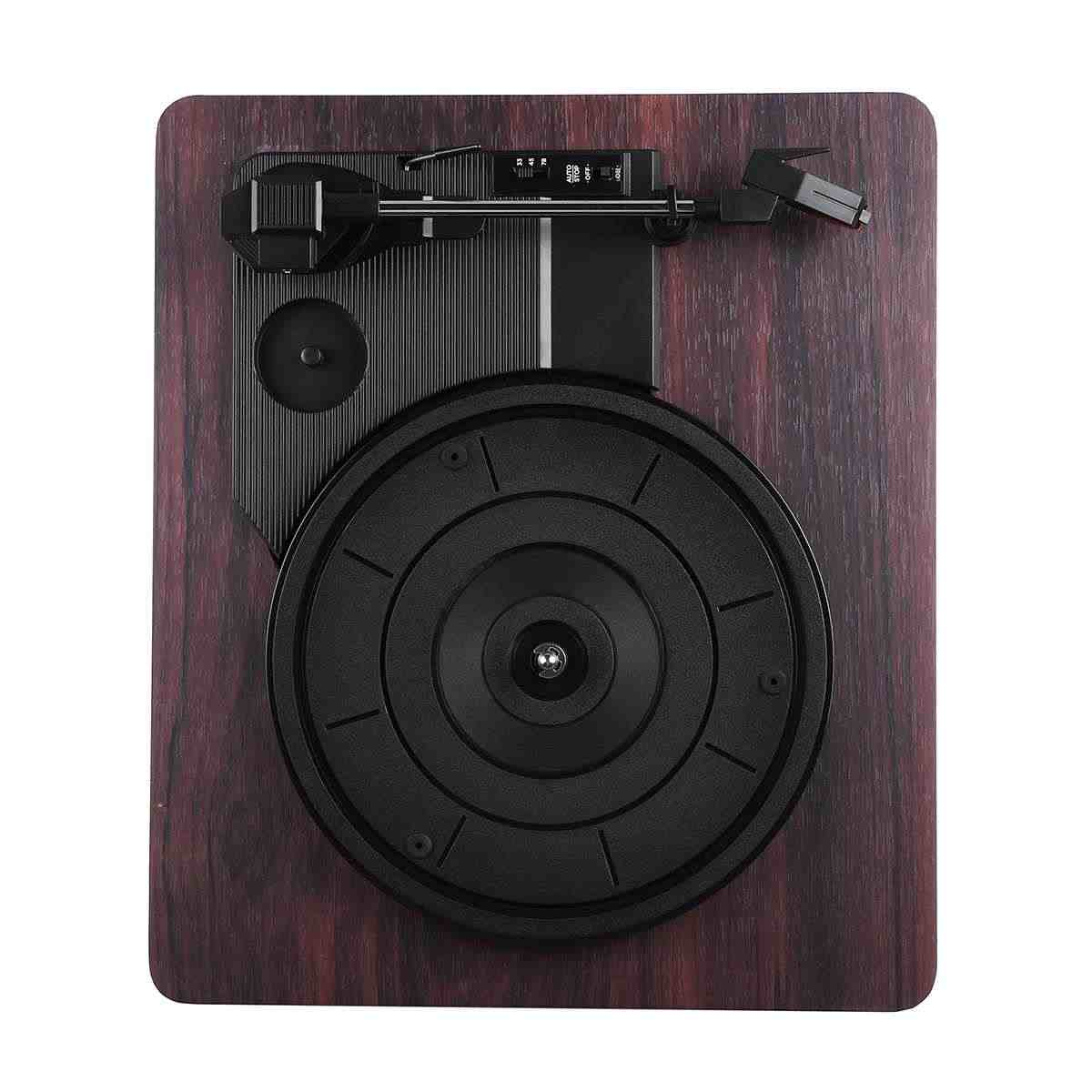 33 、 45 、 78 Rpm 録音プレーヤーアンティーク蓄音機ターンテーブルディスクビニールオーディオ RCA R/L 3.5 ミリメートル出力 Out USB DC 5V の木の色