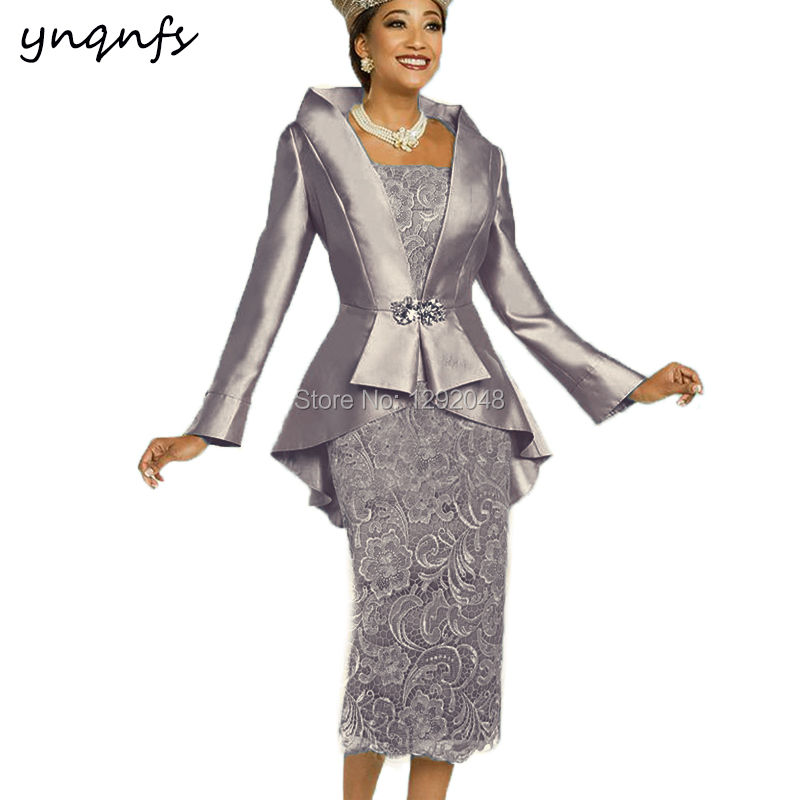YNQNFS M52 Elegant Tea Length 2019 Two Piece Mother Of The Bride Dresses With Jacket Bolero Groom Mother Lace Gown Wedding Party