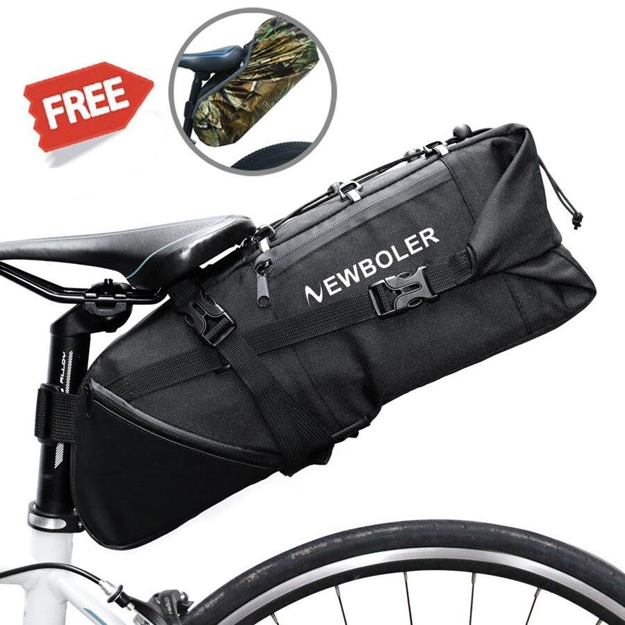 NEWBOLER 2018 Bicicleta Bolsa de Sillín de Bicicleta Asiento Bolsas de Almacenamiento A Prueba De Agua de Cola Ciclismo Trasero Paquete Alforjas Accesorios 10L Max