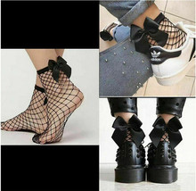 Mesh Net Socks Hollow Out Bow-knot Fashion Girl Fishnet Knee High Sock Lady Lace Mesh Short Women Socks Cute(China)
