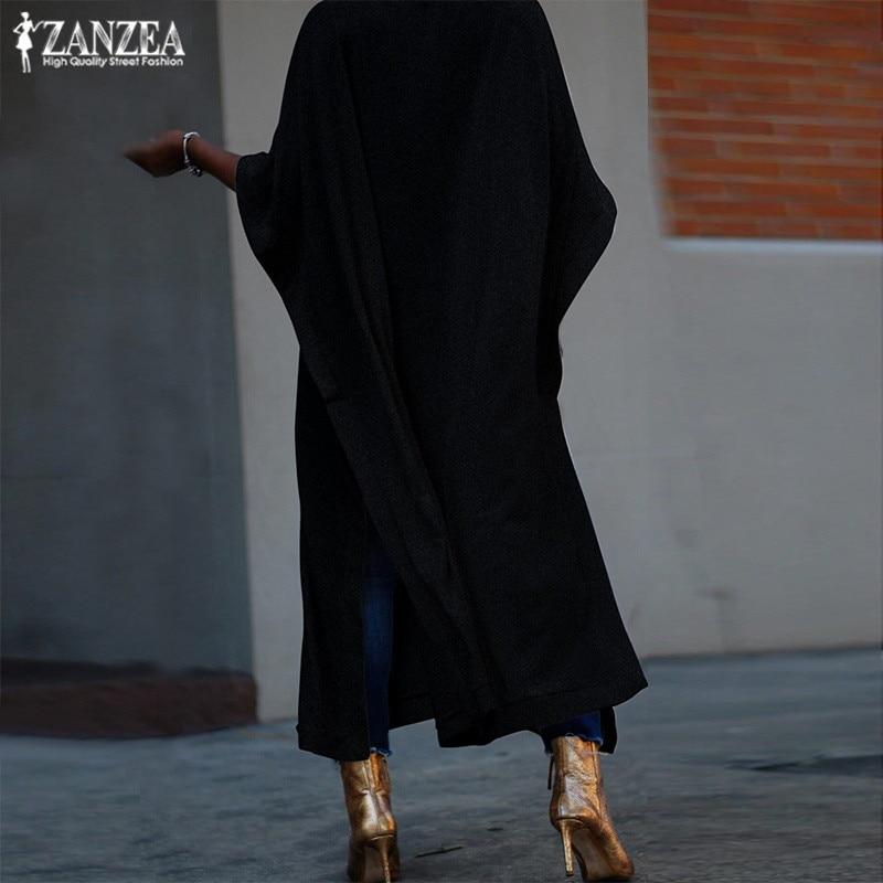 2019 Plus Size ZANZEA Summer Sundress Women Solid Batwing Sleeve Vintage Split Loose Long Shirt Dress Vestidos Tunic Robe Female