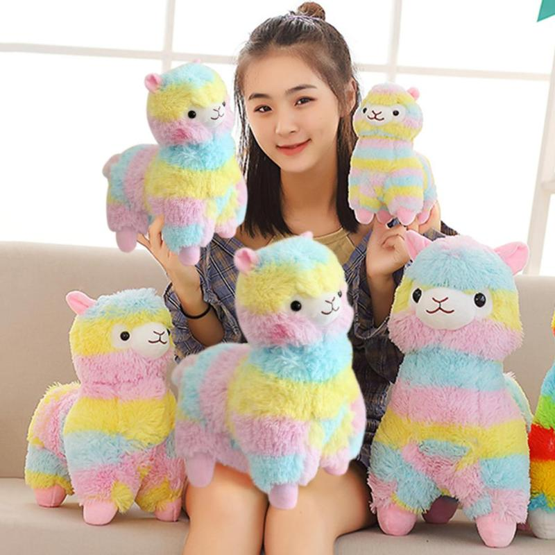 Stripes Rainbow Alpaca Plush Toy Kids Baby Soft Stuffed Plush Toy Cotton Cute Cartoon Sheep Stuffed Doll Toys Gifts For Children