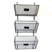 3pcs Hanging Under Shelf Storage Iron Mesh Basket Organizer Rack Closet Holders Storage Basket Rack Organizer