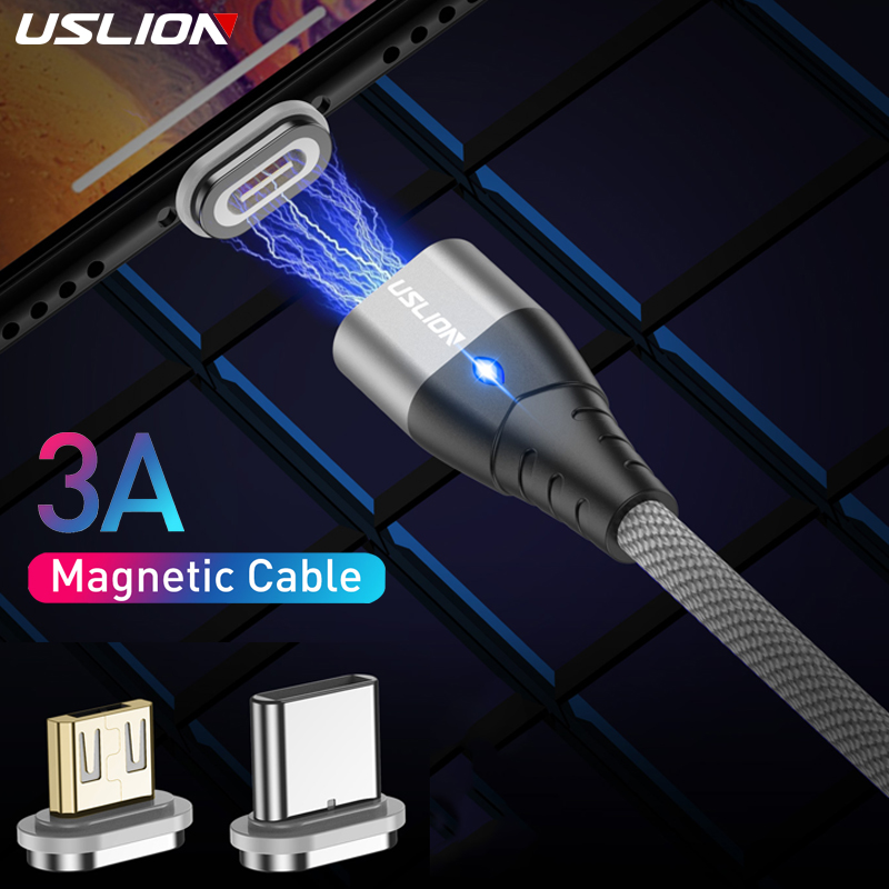 USLION 3A Magnetic USB Cable For Type C Magnet Charger Data Fast Charging Charge Micro USB Cable For Samsung Xiaomi Phone Cables|Mobile Phone Cables|   - AliExpress
