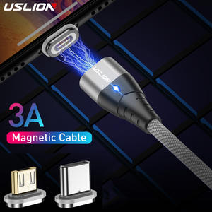 USLION 3A Magnetic USB Cable For Type C Magnet Charger Data Fast Charging Charge Micro USB Cable For Samsung Xiaomi Phone Cables