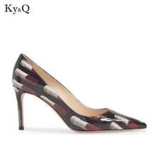 Printing Pointed Toe Pumps 2018 New Patent Leather Thin heel Shoes Elegant Lipstick  Woman Party Wedding 92560b3d2892