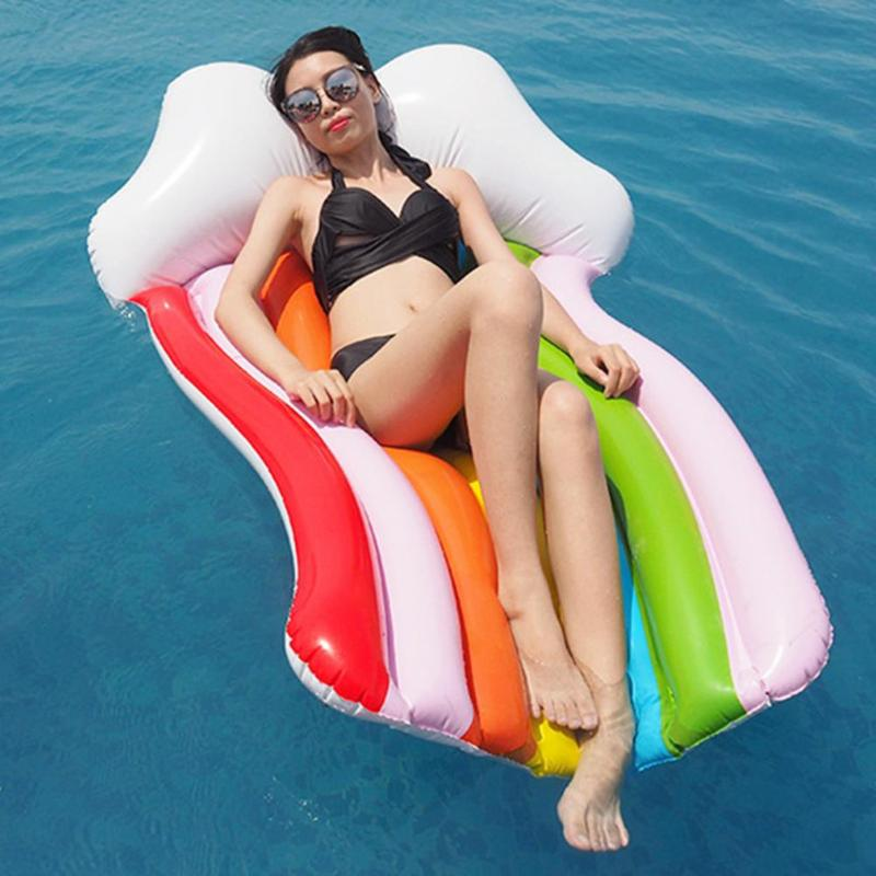 Inflatable Rainbow Adults Kids Summer Swimming Toy Swimming Pool Water Fun Party Toys