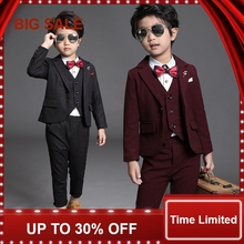 2018 New Children Suit Baby Boys Suits Kids Blazer Formal For Weddings Clothes Set Jackets+Vest+Pants 3pcs 2-12Y