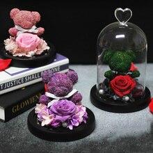 Вечная Сохраненная свежая Роза прекрасный плюшевый мишка литьевой светодиодный светильник в колбе бесморская Роза День Святого Валентина подарок на день матери
