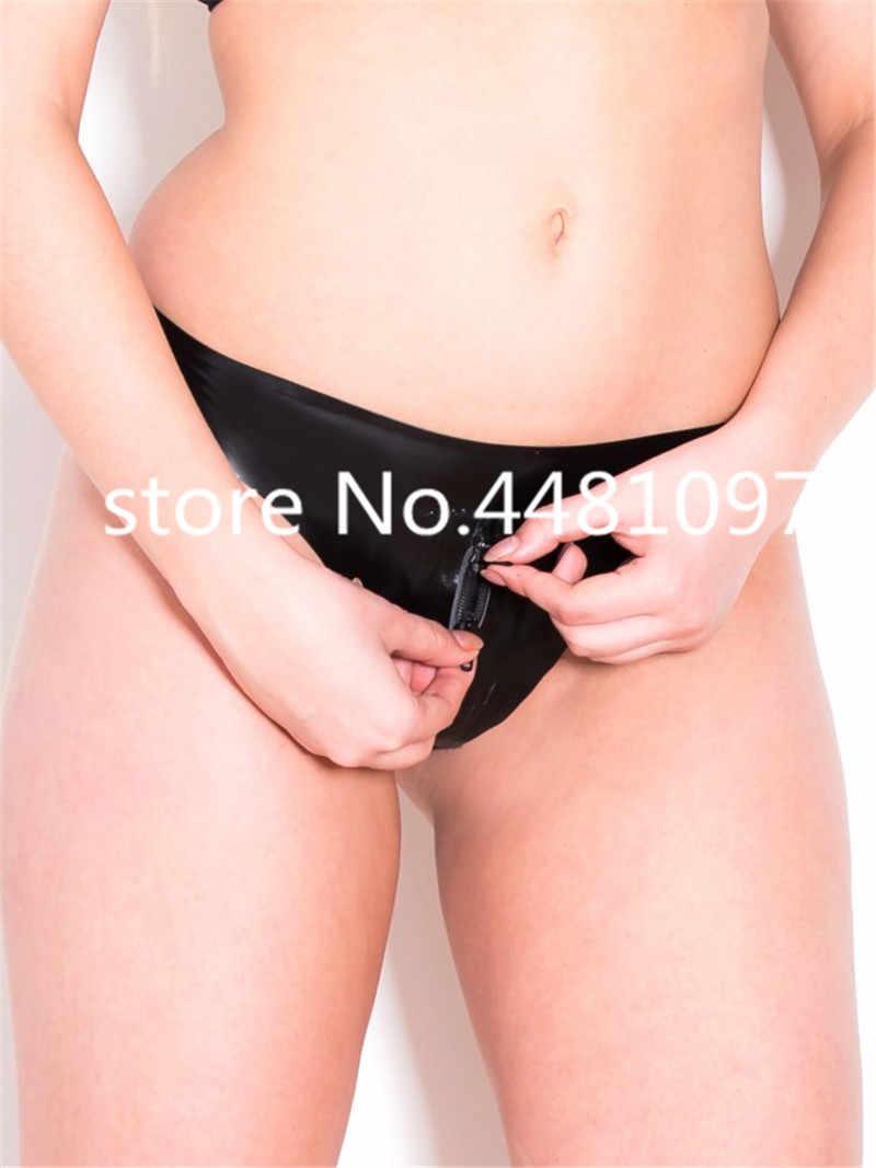 เซ็กซี่ผู้หญิงซิปเป้า Latex Thongs เซ็กซี่ Latex T - Back สีดำ Latex กางเกงชุดชั้นใน crotch เปิด Latex กางเกงสำหรับหญิง