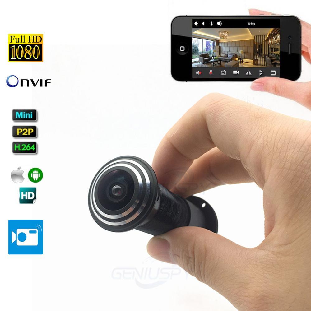 Porte visionneuse oeil trou 1080 P 1.66mm grand Angle FishEye lentille réseau Mini judas porte IP caméra P2P Onvif réseau câble d'alimentation