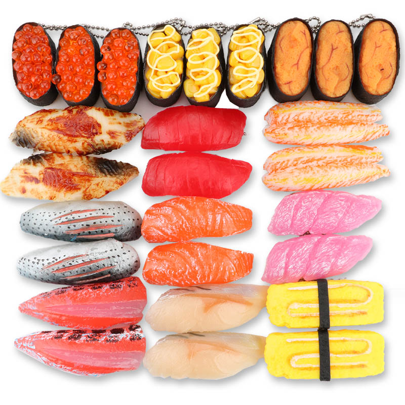 PVC Simulation Sushi Keychain Japan Food Model Toy Sashimi Eel Sea Urch Restaurant Toys For Children Creative Gift-in Action & Toy Figures from Toys & Hobbies