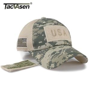 Image 3 - TACVASEN التكتيكية التمويه قبعات البيسبول الرجال الصيف شبكة قبعات الجيش العسكرية شيدت قبعات سائق الشاحنة القبعات مع العلم USA بقع