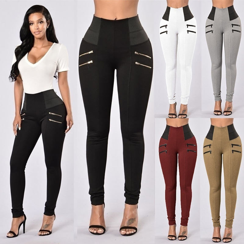 New 4 Zipper High Waist Fitness Legging Gym Clothing For Women Elastic Casual Trousers Pantalon Taille Haute Femme Ey*