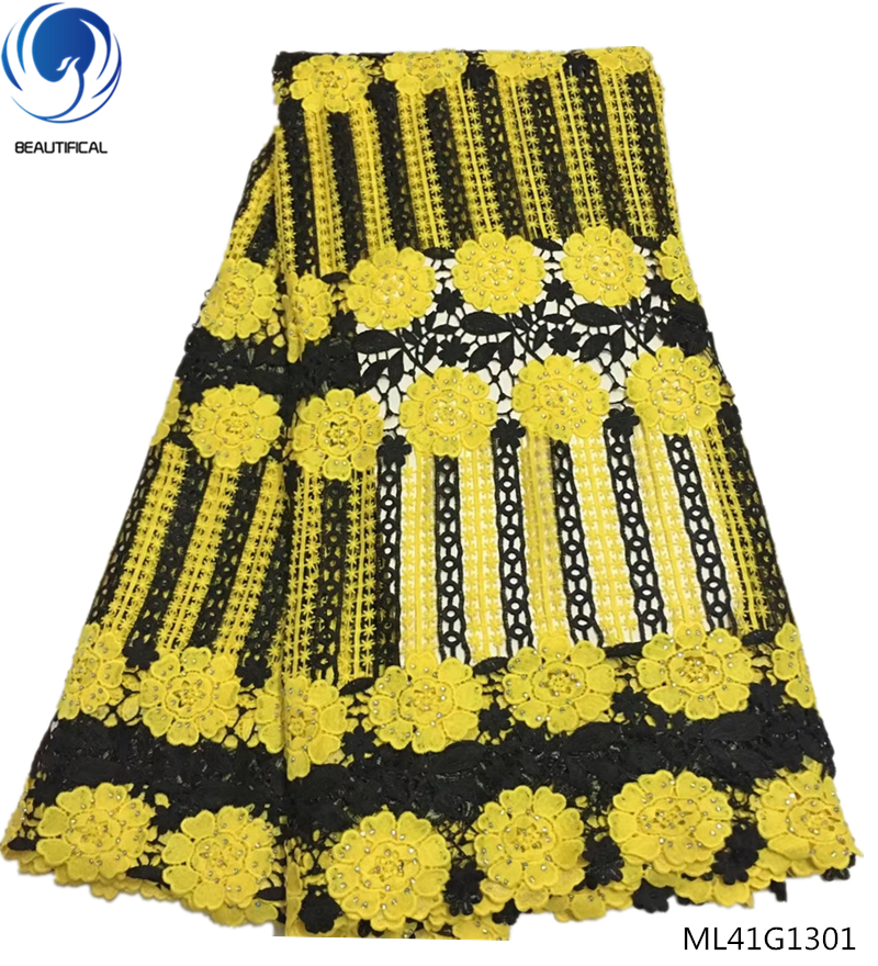 BEAUTIFICAL guipure embroidery lace  guipure lace fabric cord yellow color nigerian fabric lace 2018 for dresses women ML41G13BEAUTIFICAL guipure embroidery lace  guipure lace fabric cord yellow color nigerian fabric lace 2018 for dresses women ML41G13