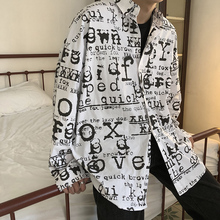 Mens Shirts New Cotton Alphabet Printed Leisure Personality Vigorous Young Wear in Spring 2019