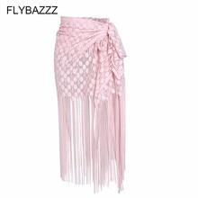 New 2019 Women Bikini Cover Up Swimwear Sexy Lace Hollow Long Tassels Beach Maxi Wrap Skirts Sarong Summer Split Skirt Cover-Ups цена 2017