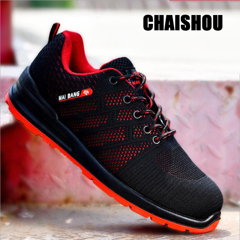finest selection fe40d fb6a9 US $18.19 9% OFF shoes men Work shoes breathable lace up Mesh cloth Safety  Shoes Steel Toe Ultra Lightweight Sneaker Casual Footwear CS 160-in Work &  ...