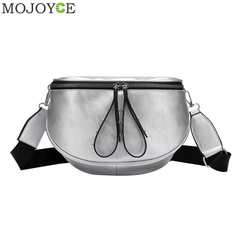 Fashion Crossbody Bags For Women 2019 Black Silver Shoulder Bag Soft PU Leather Messenger Bag Ladies Small Chest Bags Sac A Main